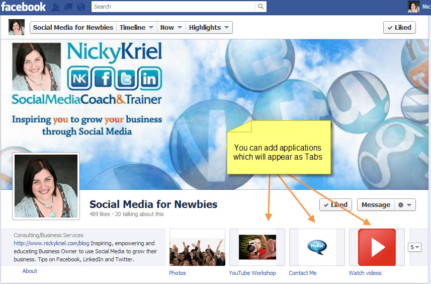 4 Great Facebook Apps to add to your Page for FREE - Nicky Kriel
