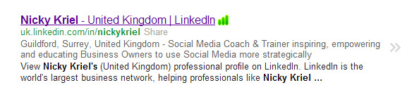 LinkedIn Profile Headline on Google