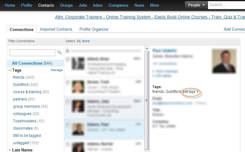 Linkedin adding tags to connections