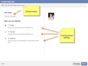 Choose the list name and privacy settings for your Facebook List