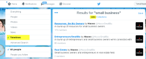 Twitter search lists