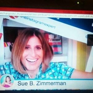 Sue B. Zimmermant being interviewed by Nicky Kriel